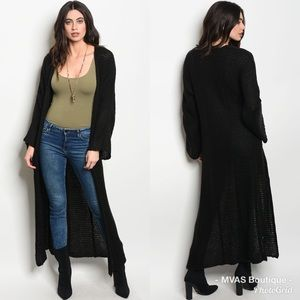 Black Long Line Cardigan | Make A OFFER